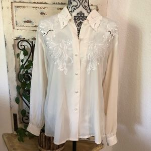 Courtenay cream lacey detail blouse
